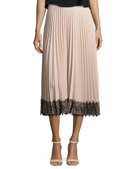 RED Valentino Pleated Lace-Trim Midi Skirt, Poudre