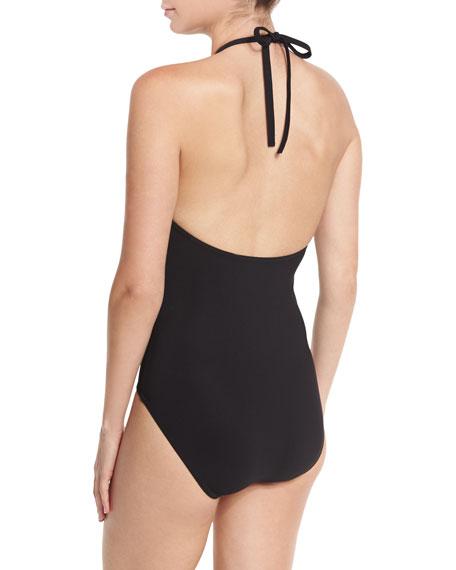 Fiorenza High-Neck Halter One-Piece Swimsuit