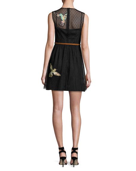 Sleeveless Point d'Esprit Dress w/ Embroidered Hummingbirds, Nero