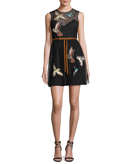 REDValentino Sleeveless Point d'Esprit Dress w/ Embroidered