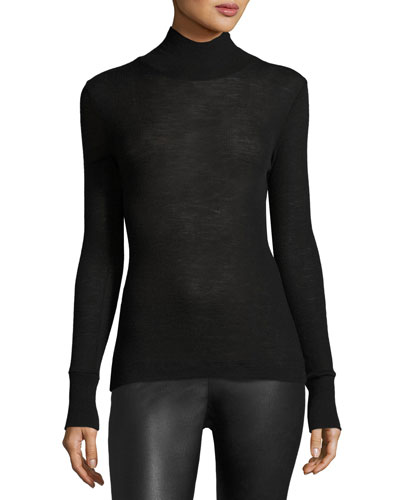 Sheer Wool Turtleneck Sweater, Black