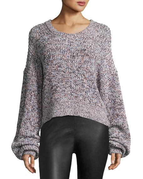 Melange Cotton Pullover Cardigan, Chambray/Multicolor