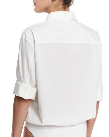 Cotton Poplin Long-Sleeve Shirt Bodysuit, Ivory