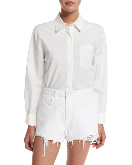 T by Alexander Wang Cotton Poplin Long-Sleeve Shirt