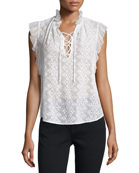 Rebecca Taylor Florence Embroidered Lace-Up Top
