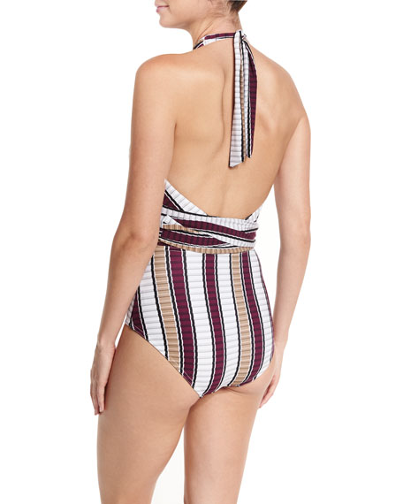 Palazzo Cross-Halter One-Piece Swimsuit
