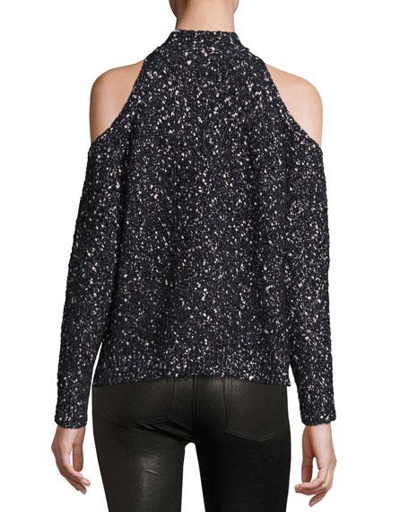 Boucle Cold-Shoulder Mock-Neck Sweater, Black Price
