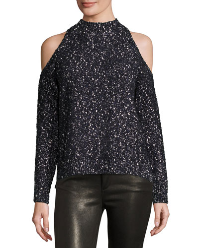 Boucle Cold-Shoulder Mock-Neck Sweater, Black