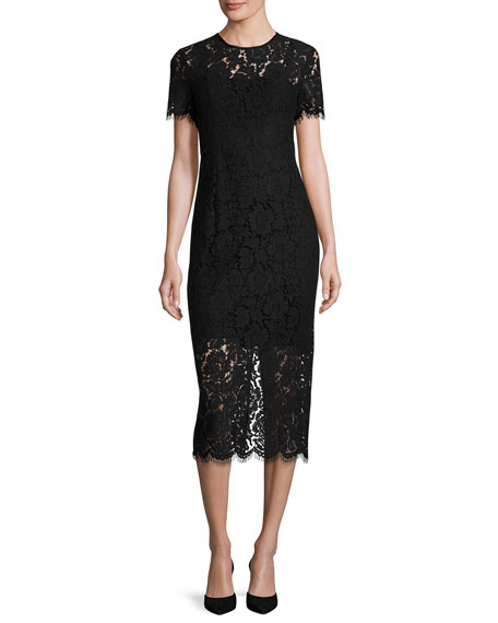 Diane von Furstenberg Carly Short-Sleeve Lace Midi Dress,