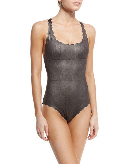 PilyQ Gwen Scalloped Reversible One-Piece Swimsuit, Sterling
