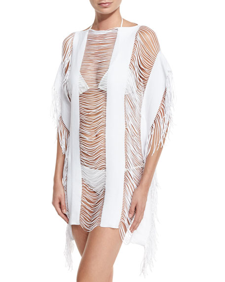 PilyQ Monique Shredded Fringe-Trim Coverup