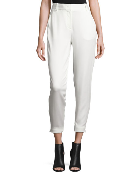 DKNY Tailored Stretch Crepe Cropped Pants, Gesso