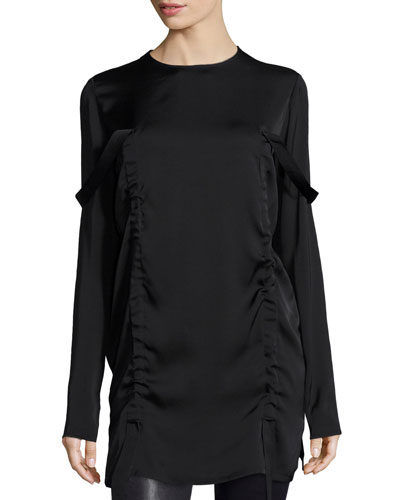 Long-Sleeve Stretch Silk Tunic, Black