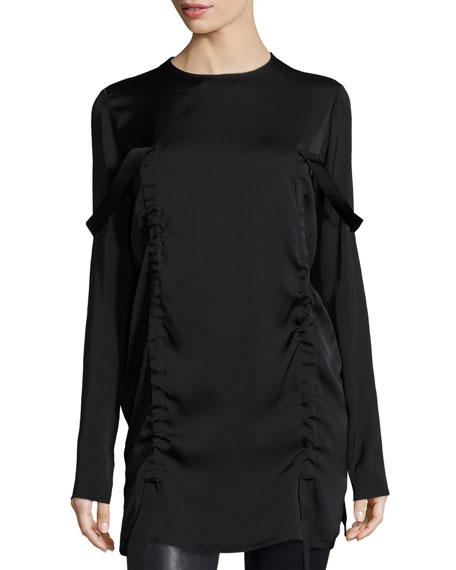 DKNY Long-Sleeve Stretch Silk Tunic, Black