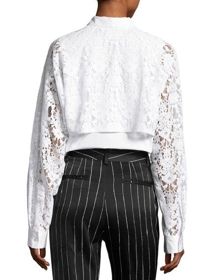 Collared Lace-Trim Poplin Shirt, White