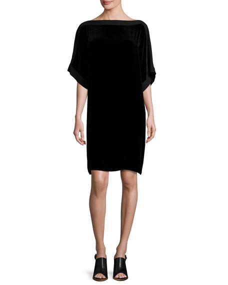 Velvet Boat-Neck Kimono Dress, Black, Petite