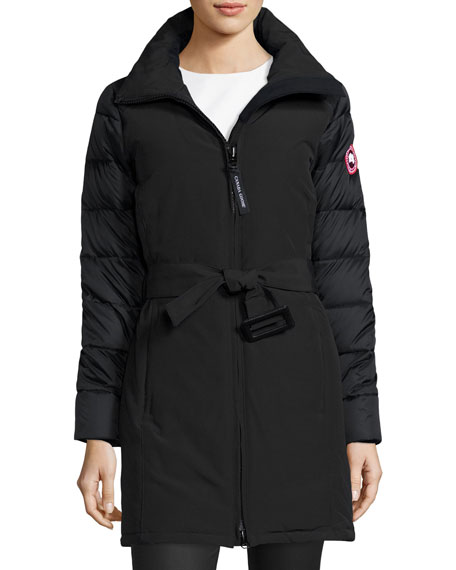 Rowan Hooded Fur-Trim Parka, Black/Graphite