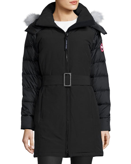 Canada Goose Rowan Hooded Fur-Trim Parka, Black/Graphite