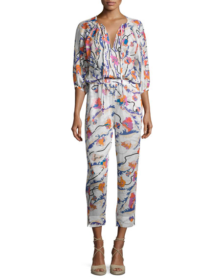 Emilio Pucci Ranuncoli Cotton Voile Jumpsuit Coverup, White/Pink