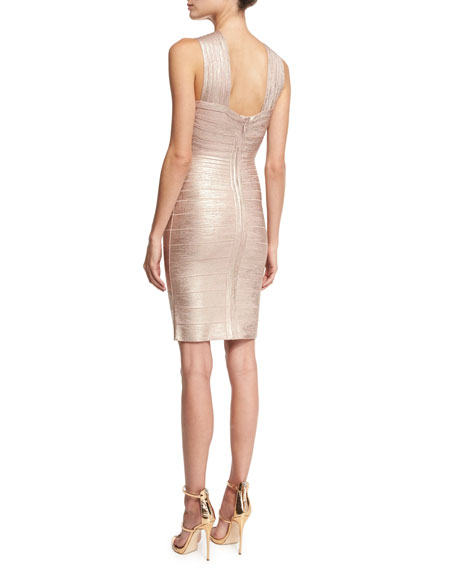 Crisscross Sleeveless Bandage Dress, Rose Gold