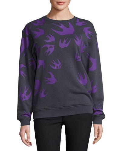 Classic Swallow-Print Crewneck Sweatshirt, Ozzy Gray