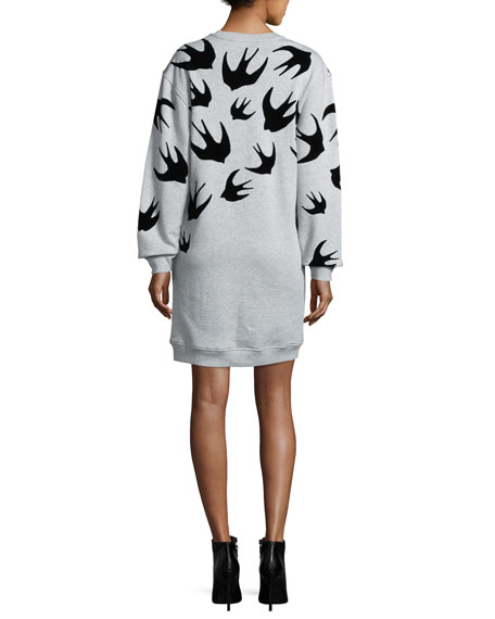 Classic Swallow-Print Sweat Dress, Mercury Melange