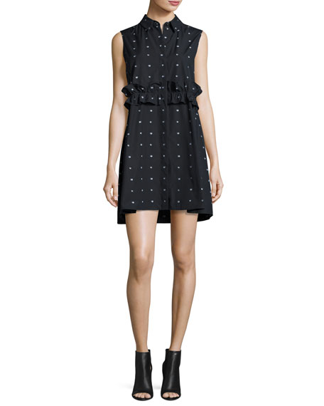 Poplin Swallow-Print Ruffle Shirtdress, Black