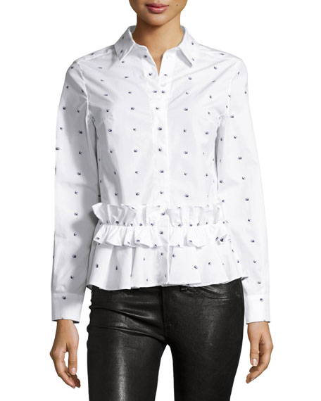 Long-Sleeve Poplin Swallow-Print Blouse, White