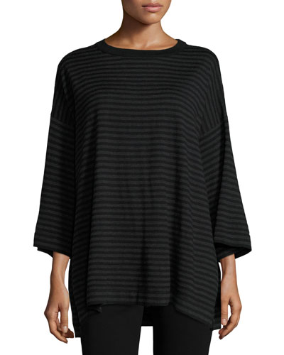 Striped Merino Top, Charcoal/Black