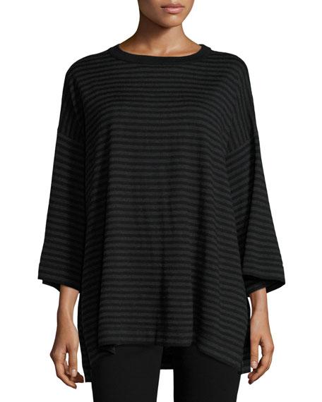 Eileen Fisher Striped Merino Top, Charcoal/Black