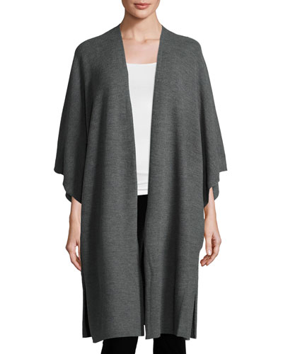 Merino Ribbed Easy Cardigan, Ash, Plus Size