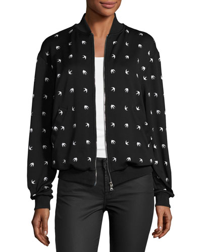 Casual Swallow-Print Bomber Jacket, Darkest Black