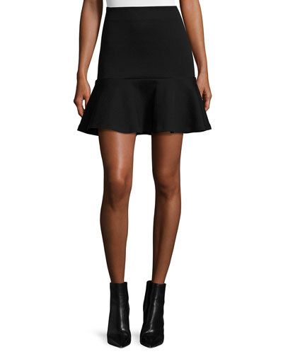 Ponte Flounce Mini Skirt, Darkest Black