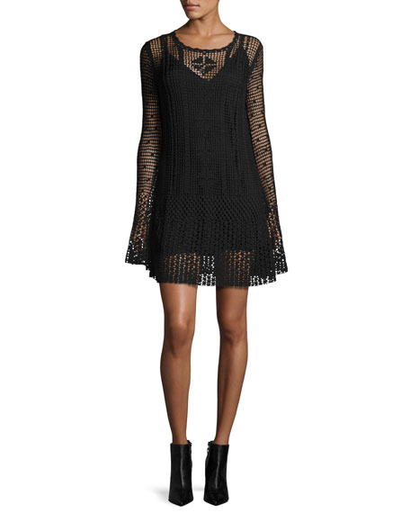McQ Alexander McQueen Long-Sleeve Macrame Mini Dress, Darkest