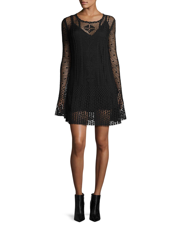f446fc5d46210 McQ Alexander McQueen Long-Sleeve Macrame Mini Dress, Darkest Black ...
