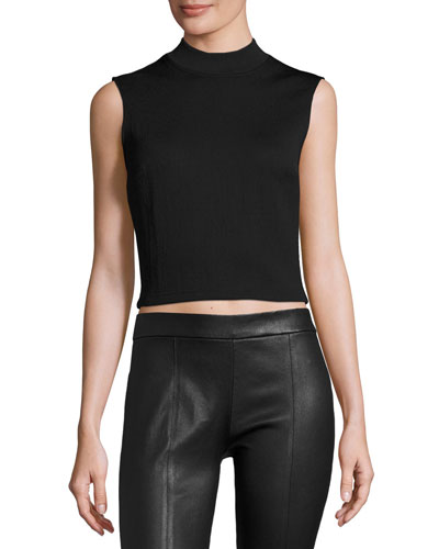 Sleeveless Cropped Ponte Top, Darkest Black
