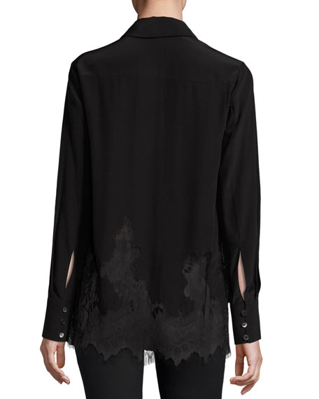 Long-Sleeve Fluid Silk Blouse, Black