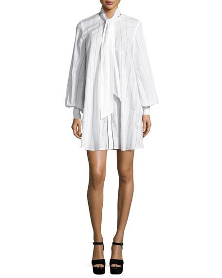 McQ Alexander McQueen Long-Sleeve Pinstriped Poplin Tunic/Dress,