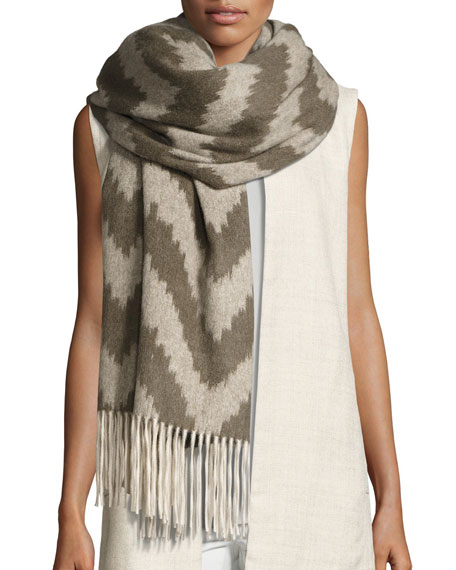 Eileen Fisher Fisher Project Chevron Cashmere Wrap w/