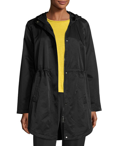 Cotton/Nylon Hooded Jacket, Black