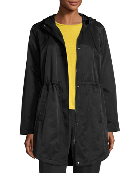 Eileen Fisher Cotton/Nylon Hooded Jacket, Black