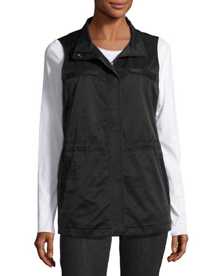 Eileen Fisher Fleece-Lined Nylon Vest, Black, Petite