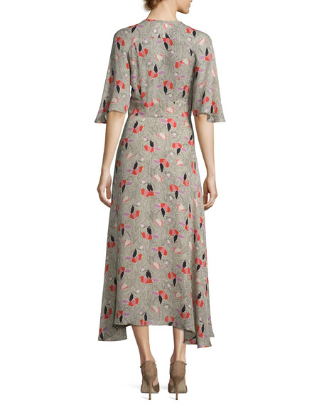 Short-Sleeve Printed Silk Midi Dress, Pumice