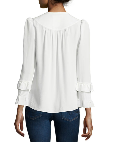Long-Sleeve Tie-Neck Blouse, Soft White