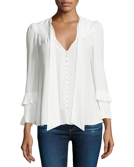 Derek Lam 10 Crosby Long-Sleeve Tie-Neck Blouse, Soft