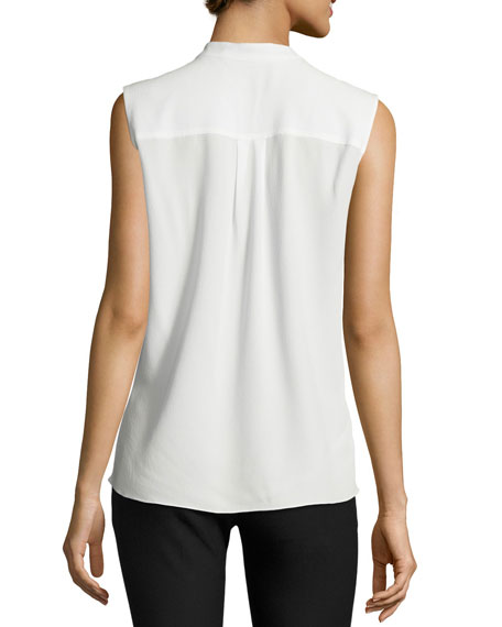 Sleeveless Voile Mock-Neck Blouse, Soft White