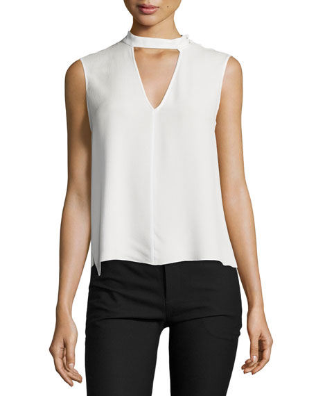 Derek Lam 10 Crosby Sleeveless Voile Mock-Neck Blouse,