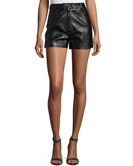 3.1 Phillip Lim Lamb Leather High-Rise Shorts, Black