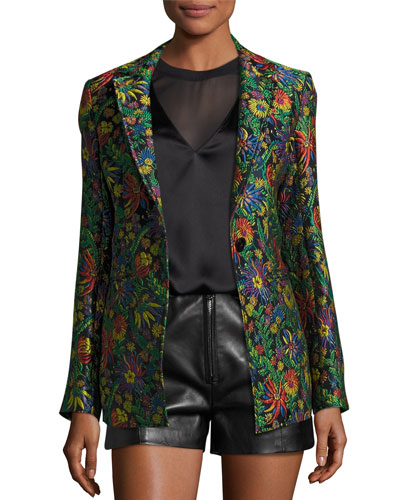 Floral Jacquard Single-Button Blazer, Midnight