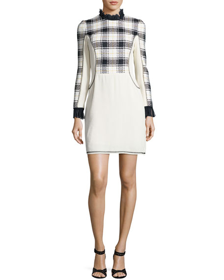 3.1 Phillip Lim Long-Sleeve Surf Plaid Mini Dress,